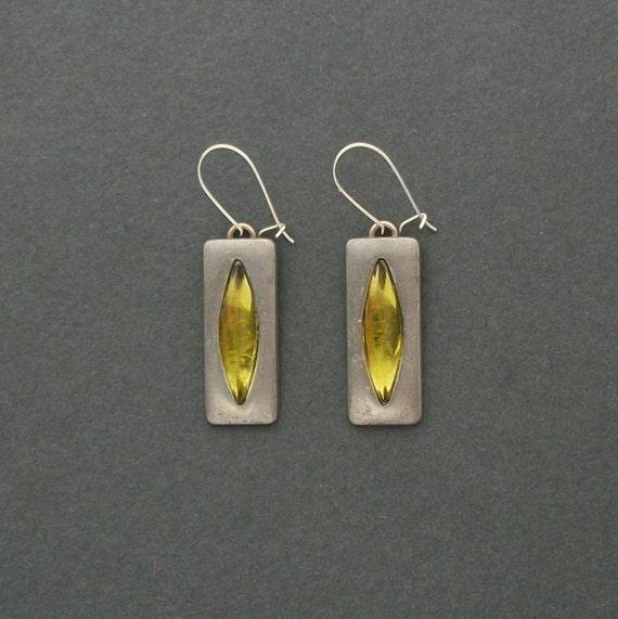 Scandinavian Modernist Earrings . Jorgen Jensen . Chartreuse Stones . Pewter .