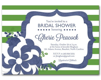 Navy bridal shower invitation, Navy and kelly green baby shower invitation, printable digital DIY