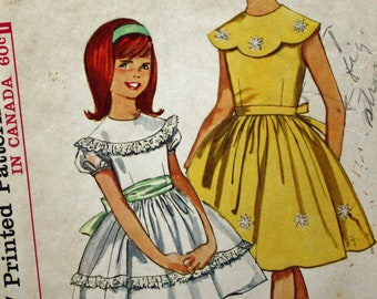 Vintage 1960s, Sewing Pattern, Simplicity 5371, Girl's Size 7, One-Piece Dress