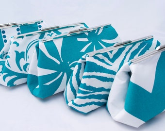 Set of (5) Blue Bridesmaids Handbag Bridal Party Gift clutch- Design your own as gifts for bridesmaids in aqua teal or other colors