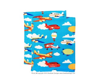 SALE - Burp Cloth Set of 2, Leaving on a Jet Plane Print  -- Ready to Ship
