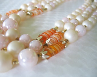 Japan Triple Strand Necklace Art Glass Lucite Orange Cream Pink 1950's
