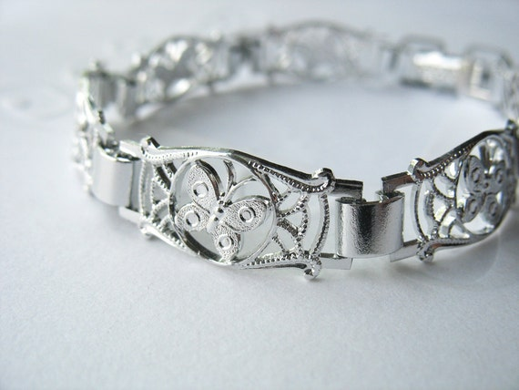 1940's Butterfly Bracelet Filigree Silvertone Aluminum Alloy Made in Germany