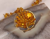 Harvest Moon Baltic Amber Tree of Life Necklace - TakeCourageDesigns