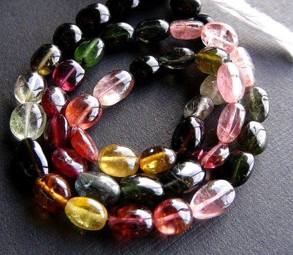 Multi tourmaline smooth polished oval beads- 8-9mm- 7 inch