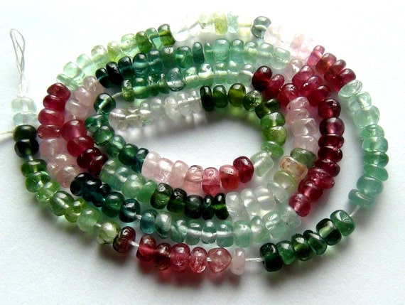 Afghan tourmaline smooth 3.5 rondelle- 4mm- 7 inch