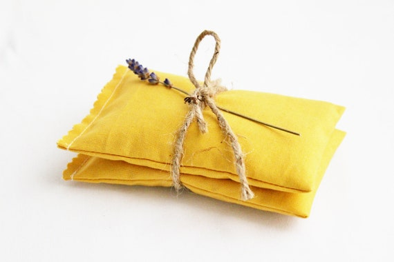Mustard Yellow Lavender Bags - Scented Drawer Sachets - Bridesmaid Gifts - Fall Wedding Favors