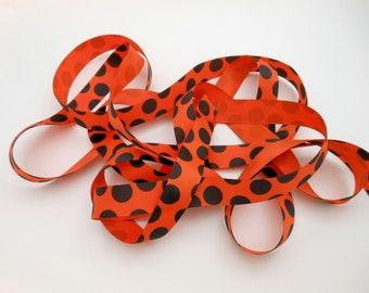 Polkadot Ribbon - Halloween Ribbon - Orange Black Ribbon - Grosgrain Ribbon