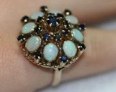 Vintage 14k Opal and Blue Spinel Ring