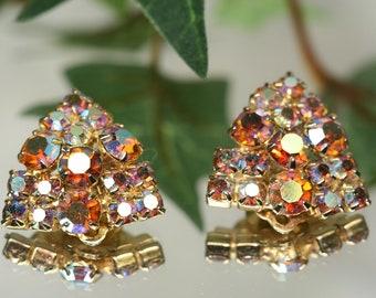 Vintage Goldtone and Rhinestone Clip Earrings