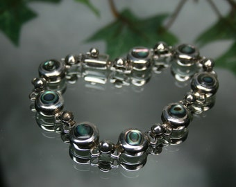 Vintage Sterling and Shell Bracelet- Mexico