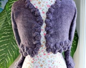 100 PERCENT Angora Rabbit Dusky Mauve Handmade knit crop Bolero with hand spun bunny angora, 3 quarter sleeves will fit S size to M