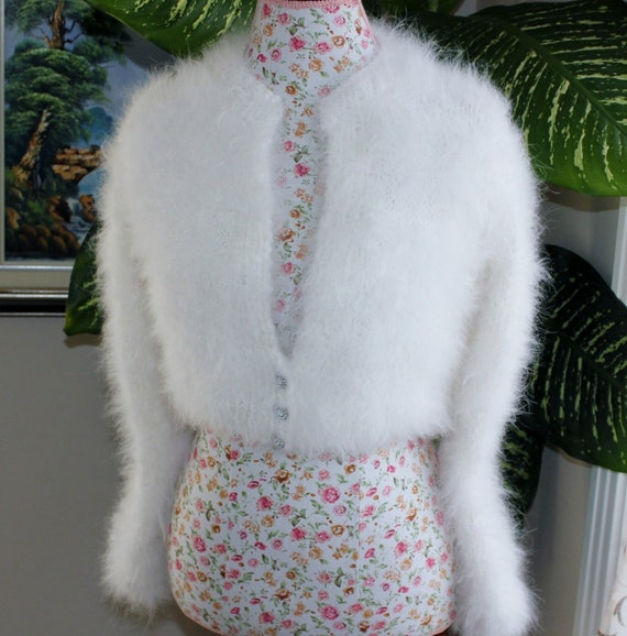 Ready to be shipped/Handmade very FLUFFY Kate Middleton Snow White Angora Shrug / Bolero hand knitted/ Will fit size Small and Medium
