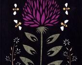 Summer Clover - 5 x 7 inch Cut Paper Art Print