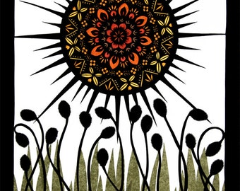 Sun Worship - Cut Paper Art Print