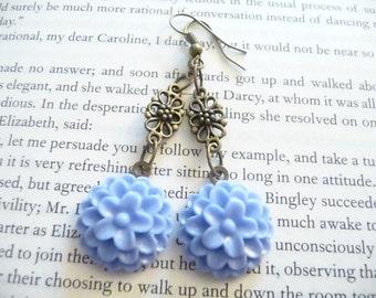 Copper Plated Blue Acrylic Flower Dangle Earrings