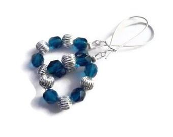 Blue Earrings, Silver Earrings , Round Earrings, Dangle Earrings, Crystal Earrings - The Loredana Earrings