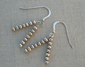 Double Stack of Mocha Pearl Earrings