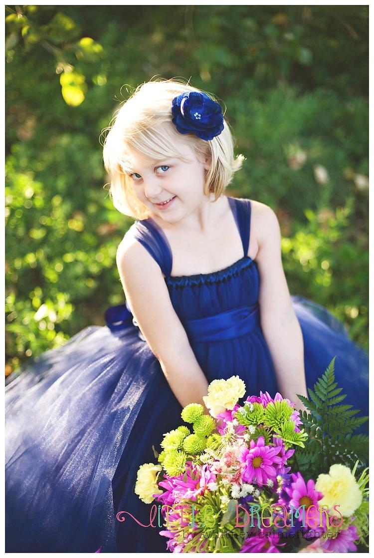 Navy Blue Flower Girl Tutu Dress Sizes 5 By Littledreamersinc