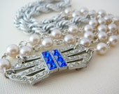 Necklace, Rhinestone Buckle, Vintage Focal Sapphire Blue Japan Glass Pearl, Deco Delight