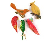 Bright Bird Brooches - Choice of 3 Vintage Bird Pins, Colorful Enameled Metal Cockatoo & Parrots, Red or Green with Rhinestone Eye