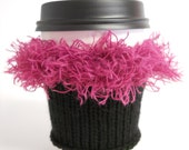 black and hot pink coffee cozy OOAK
