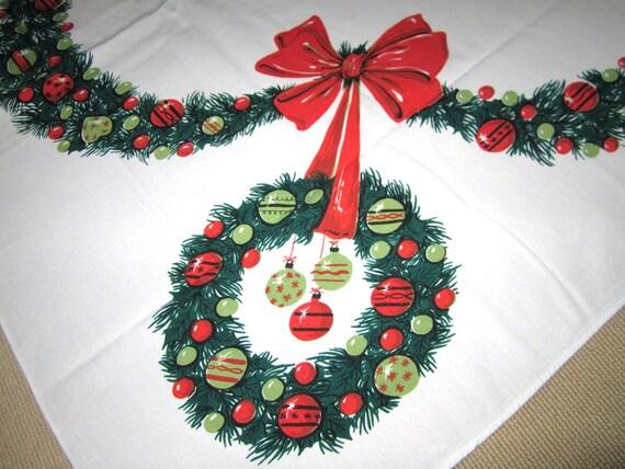 Vintage Christmas Tablecloth Wreathes Eames