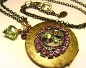 Pink & Peridot Swarovski Steampunk Art Locket - Coco Scapin Designs Chicago
