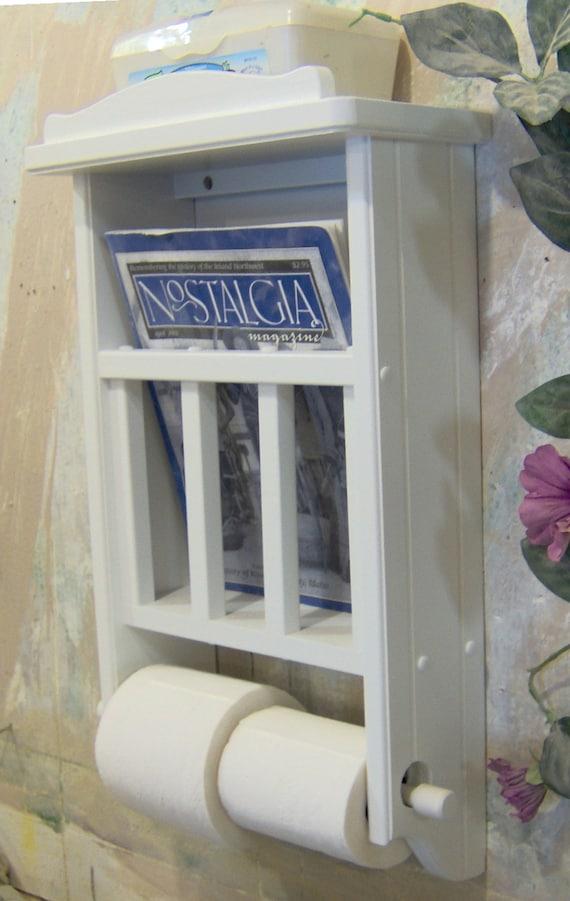 White Magazine Rack With Toilet Paper Tissue Holder And Shelf