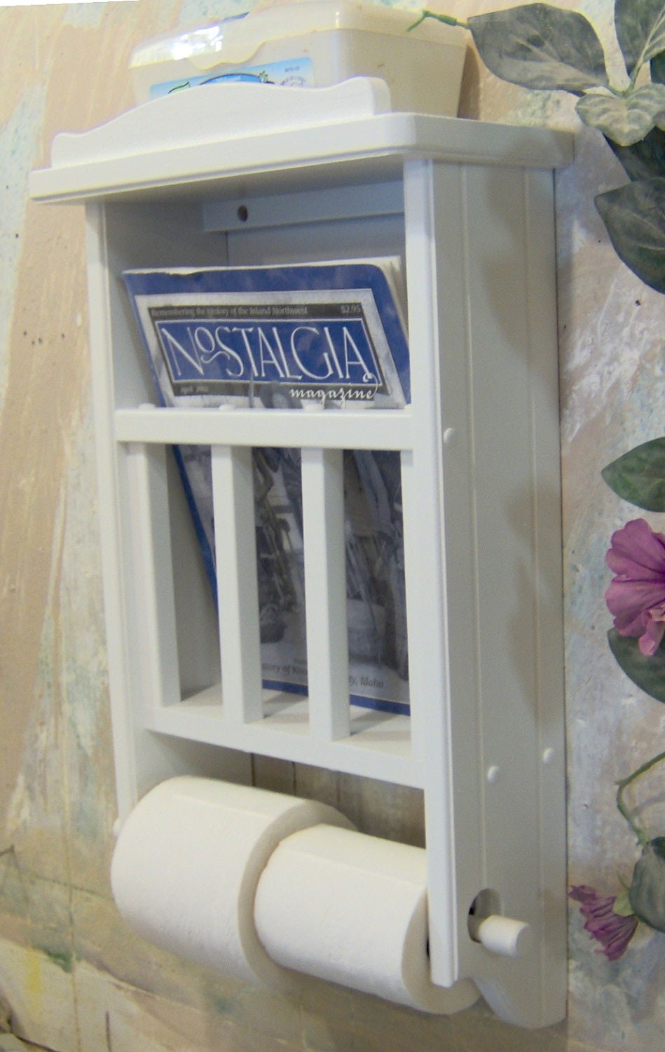 White magazine rack with toilet paper tissue holder and shelf - Tissue holder bathroom ...