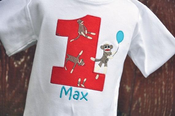 Personalized Sock Monkey Kids Birthday Shirt