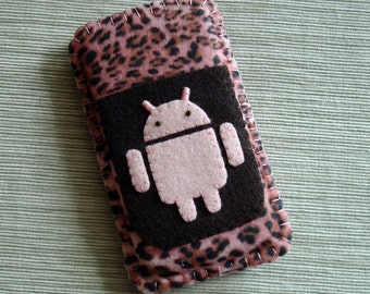 Android Phone Case with Cheetah Pattern Animal Print Pink and Brown Felt LIMITED EDITION