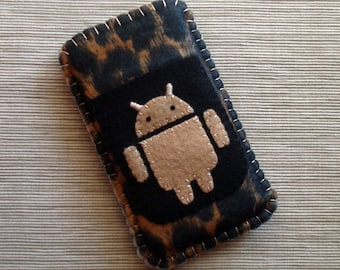 Android Phone Case with Leopard Spots Pattern Animal Print Black and Tan Felt LIMITED EDITION