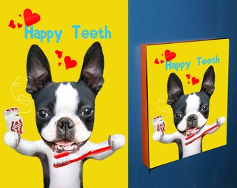 BOSTON TERRIER Happy Teeth mounted signed print boston terrier bacon floss