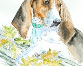 TREEING WALKER COONHOUND Original Watercolor on ink print 11x14 Matted Ready to Frame
