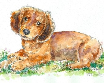 DACHSHUND DOXIE Original Watercolor on Ink Print Matted 11x14 Ready to Frame