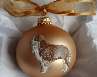 Miniature Australian Shepherd Dog Hand Painted Christmas Ornament - Can Be Personalized with Name