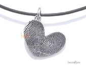 Sterling Silver Custom Thumbprint Heart Necklace
