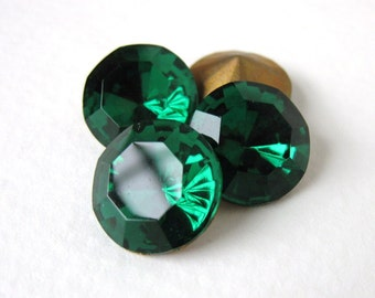 Vintage Rhinestone Emerald Green 60ss Round Jewel Glass Faceted ss60 14mm rhs0376 (4)