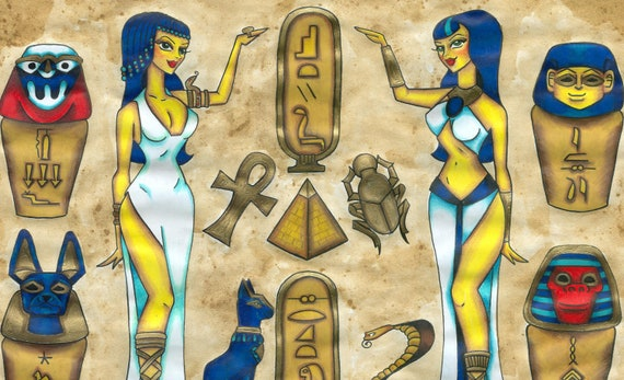 Walk like an egyptian 11x14 tattoo flash print for Egyptian tattoo flash
