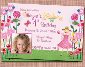 Think Pinkalicious Custom Birthday Photo Invitation or Thank You