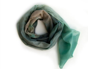 Men's cotton scarf paint by hand. Aqua beige men's scarf. Cotton scarves. Long men's pastel scarf. All season scarves.Father's Day gift