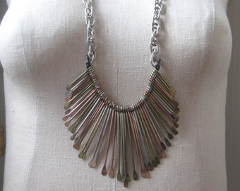 Vintage Spikes Fan Vintage Necklace Tribal Silver Brass Copper Industrial Minimal leather