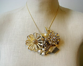 Old Gold Flower, Gold Pearl Rhinestone Vintage Brooch Collage necklace