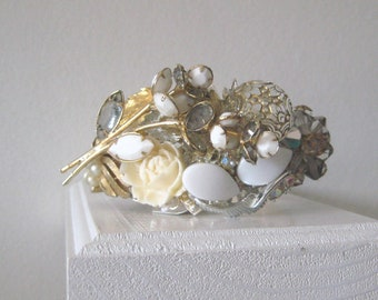 Bridal Cuff Bracelet Crystal White Gold Collage Vintage Brooch Wedding Rose  Silver Grey Pearl Adjustable