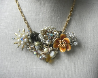 Downton Dream Gold Pearl Baroque  Vintage Collage Necklace