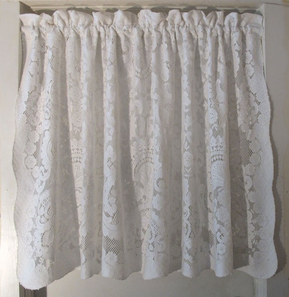 Quaker Lace Curtain Panel 36 inch long cafe drape by BettyandBabs