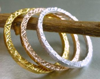 14k gold Stacking ring set.  Hammered bands. 3 stacking rings. Textured stacking rings.