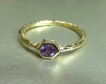 Pink sapphire ring. Hexagon sapphire promise ring. Unique sapphire engagement ring. Textured sapphire ring. 14k pink sapphire stacking ring.