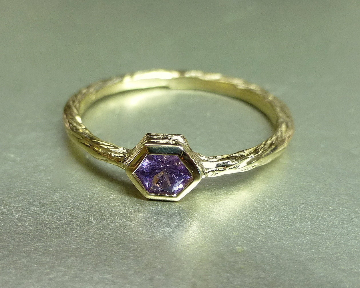 Pink sapphire ring Hexagon sapphire promise ring Unique